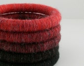 Price Reduced. Set of 5 Yarn Wrapped Stacking Bangles (1994-011F)   free shipping