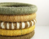 Set of 5 Wool Wrapped Stacking Bangles (5077-1910)   FREE SHIPPING