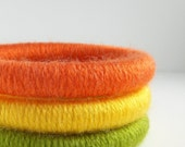 Closing Down Sale only 12 bucks  -  Set of 3 Wool Wrapped Stacking Bangles (4214)   FREE SHIPPING