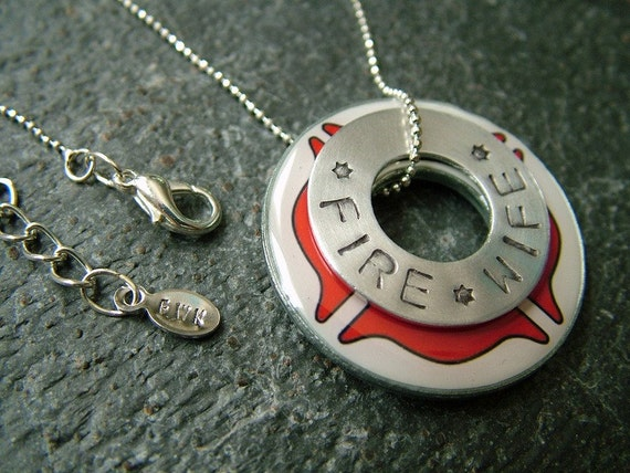 Stamped Fire Department Washer Necklace - Fire Wife
