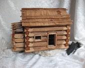 Reserved for Glen- Vintage Americana Lincoln  Log Cabin Vintage  Folk Art Collectible Abe Lincoln Log Cabin Prop