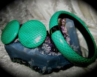 Vintage Elegant Green Snakeskin Bracelet and Earring Set Tribal Bangle