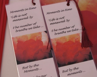 Moments In Time- Bookmarks  Beautiful  Rose &  Inspirational Thoughts Set Of 2 -Crystal Moments-Fine Art Bookmarks