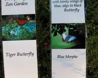 Beautiful Butterfly Photo Zen Bookmarks- Blue Morpho & Orange Butterflies in the Garden Custom Zen /Garden Laminated Bookmarks