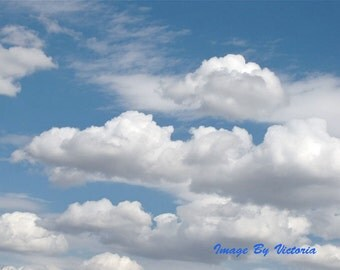Blue Skies Fine Art Photograph Meditation Art Altar Art  Fluffy Clouds Blue Texas Skies Fleeting Clouds