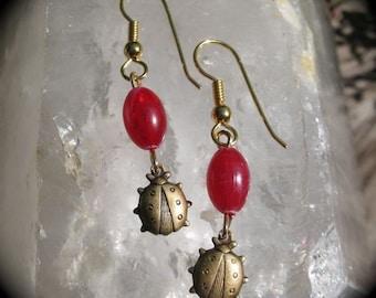 Fall Red & Gold Ladybug Earrings - Nature Lover's Dangle  Earrings