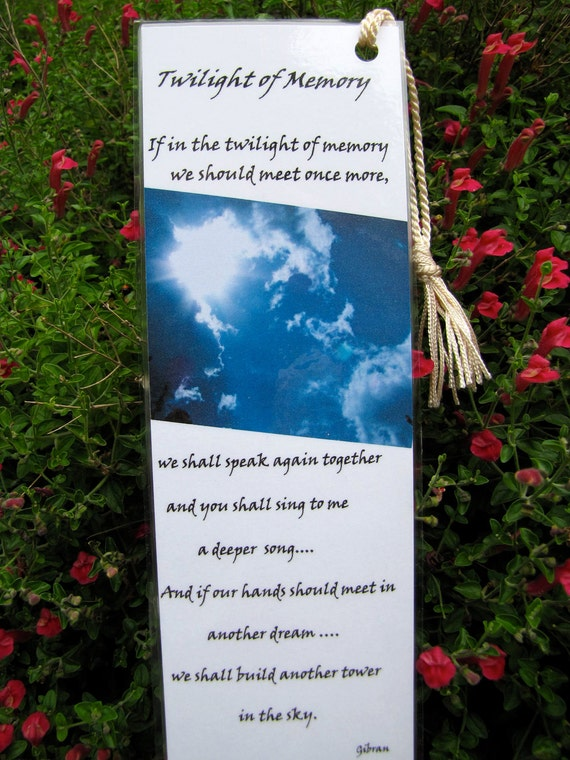 Metaphysical  Quote Bookmarks -Twilight Of Memory- Fine Art  Photo Bookmarks Ethereal Clouds and Gibran- Set of Two