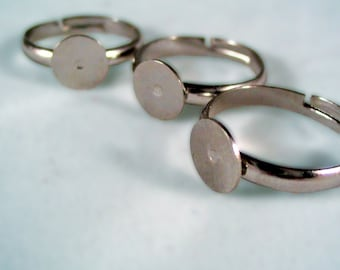 Create Your Own Rings -----30----- Adjustable ring blanks with 8MM glue pad