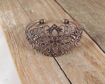 Blank FILIGREE CUFF BRACELETS--(6)-- in Antiqued Copper