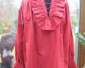 SALE Pirates of the Caribbean Vampire Unisex Red Cotton Shirt Blouse Pirate Steampunk Reenactor Costume Fancy Dress Vampire Dracular Goth