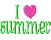 I Love Summer Mini Machine Embroidery Design