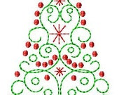 Scroll Christmas Tree Machine Embroidery Design 2 sizes - SimplySweetEmbroider