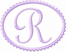 Oval Design Machine Embroidery Monogram Font Set  4x4 Hoop