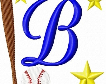 Baseball Monogram Font Set Machine Embroidery