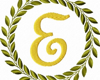 Leaf Frame Machine Embroidery Font Set Monogram