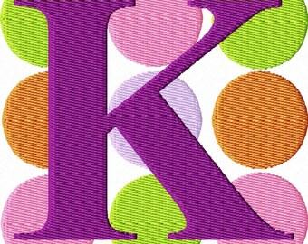 Large Dots Machine Embroidery  Monogram Font Set