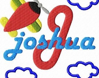 BOYS AIRPLANE Monogram Font Machine Embroidery Designs
