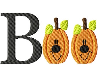 Boo Halloween Pumpkins Machine Embroidery Design