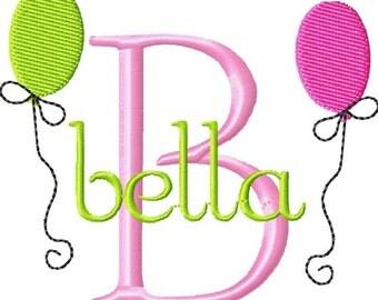 Balloon / Birthday Design Machine Embroidery Monogram Font Set