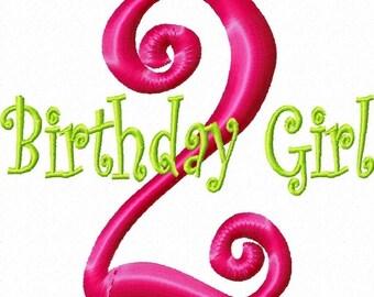 Birthday Girl Numbers Machine Embroidery Monogram Design Set