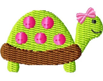 Girl Turtle Machine Embroidery Design Mini