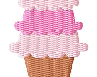 Triple Scoop Ice Cream Cone Mini Embroidery Design