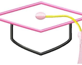 Graduation Hat Machine Embroidery Applique Design