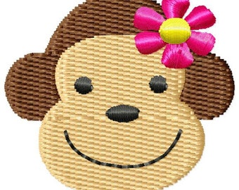 Girl Monkey Face Mini Machine Embroidery Design