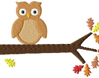 Fall Owl Machine Embroidery Design Single