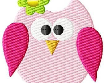 Girl Owl Mini Embroidery Design