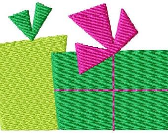Two Christmas Presents Mini Machine Embroidery Design
