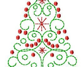 Scroll Christmas Tree Machine Embroidery Design 2 sizes
