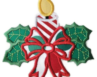 Christmas Candle Machine Embroidery Applique Design