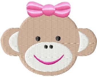 Girl Sock Monkey Mini Machine Embroidery Design