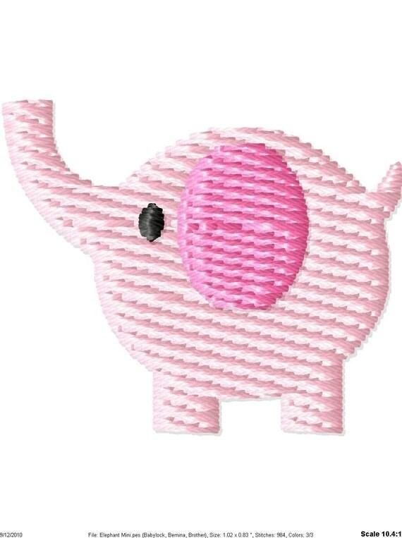 Baby Elephant Machine Embroidery Mini Design