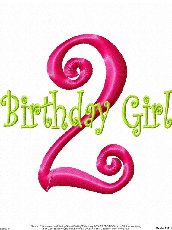 Birthday Girl Numbers Machine Embroidery Monogram Design Set