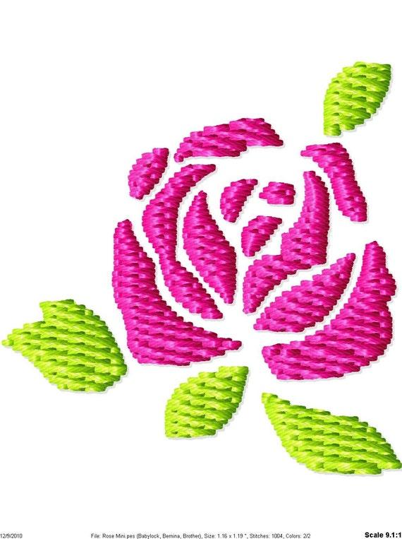 Rose machine embroidery mini design