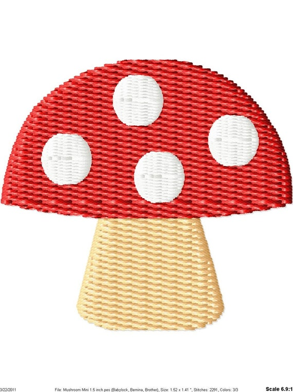 Mushroom Machine Embroidery Mini Design