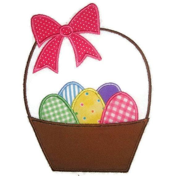 Easter Basket Machine Embroidery Applique Design