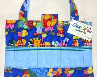 Crayon Holder, CLEARANCE 35% DISCOUNT, Coloring Book Tote, Quiet Time Art Bag, Child Travel Tote, Organizer for Coloring Supplies