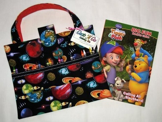 Coloring Book n Crayola Crayons Organizer, Art Supplies Tote, All-in-One Gift, Solar System Fabric