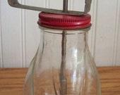 Vintage Red syrup jar dispenser pitcher