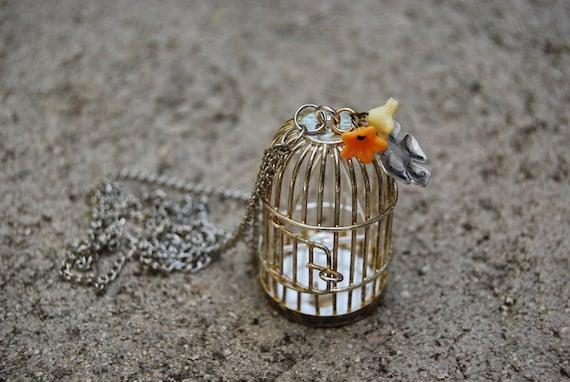 SALE Silver Birdcage Necklace
