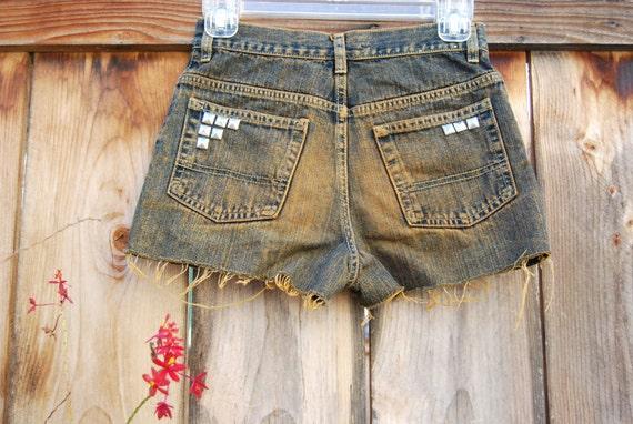 SALE 20% off - Orange Denim Wash Shorts