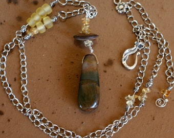Brown Pietersite Briolette Chunk and Tourmaline Necklace, Autumn and fall color jewelry, South Africa