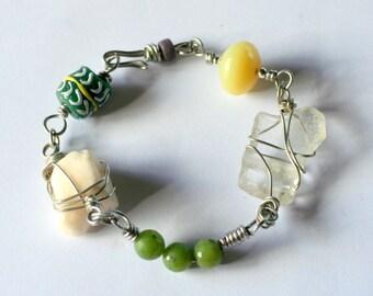 Sea Glass Jewelry, Sea glass bracelet, eco-friendly, Seaglass bracelet, Handmade Ghana Glass Bead Bracelet