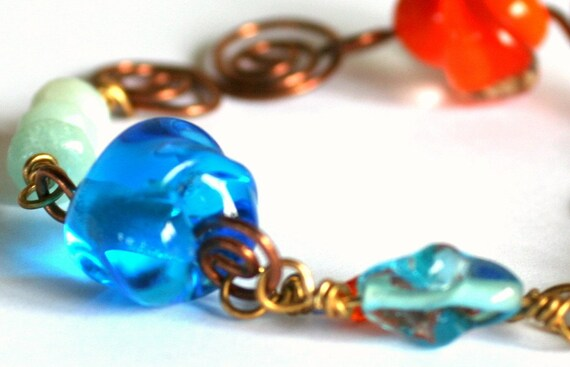 Glass bead bracelet, Red, blue and green jewelry, copper wire wrapped, Earthy, Fun, Colorful, beachy summer bracelet, womens gift
