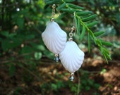 White Shell Dangle Earrings, Vintage  Lucite Beads, Swarovski Crystals,  Sterling Silver
