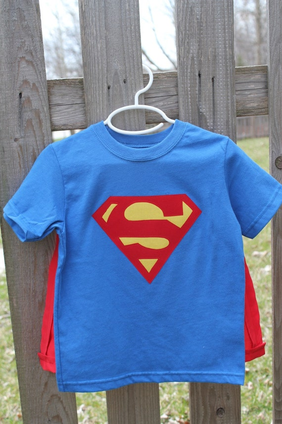 Superman t shirt and cape for Make your own superman shirt