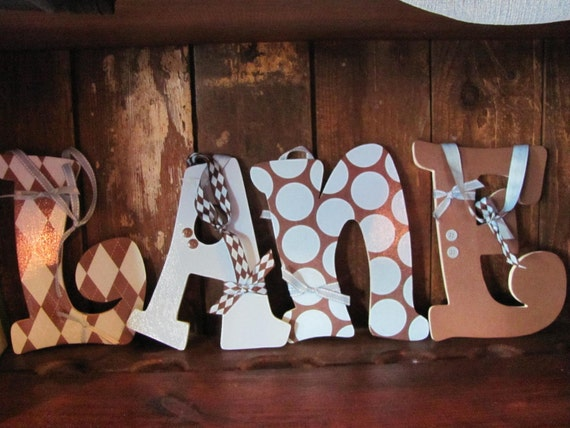 Boy Brown and Blue decorative wall letters to match a bedroom or nursery